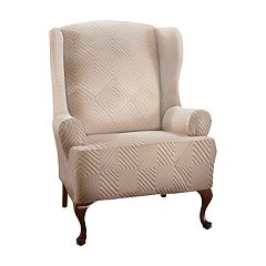 Jeffrey Home Stretch Shapely Diamond Wing Chair Slipcover Furniture Cover