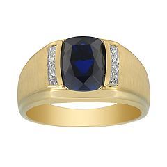 Men's 10K Gold Lab-Created Gemstone & Diamond Accent Ring