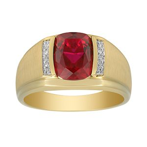 Men's 10K Gold Lab-Created Gemstone & Diamond Accent Ring