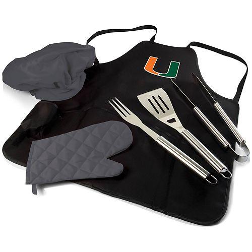 Picnic Time Miami Hurricanes BBQ Apron Pro Grill Set