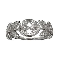 Primrose Sterling Silver Cubic Zirconia Vine Ring