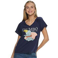 Juniors' Disney's Dumbo V-Neck Graphic Tee
