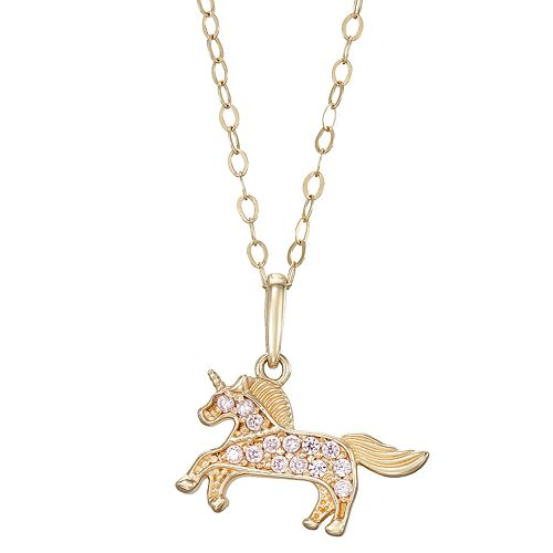 Charming Girl 14k Gold Cubic Zirconia Unicorn Pendant Necklace