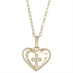 Charming Girl 14k Gold Heart & Cross Cubic Zirconia Pendant Necklace