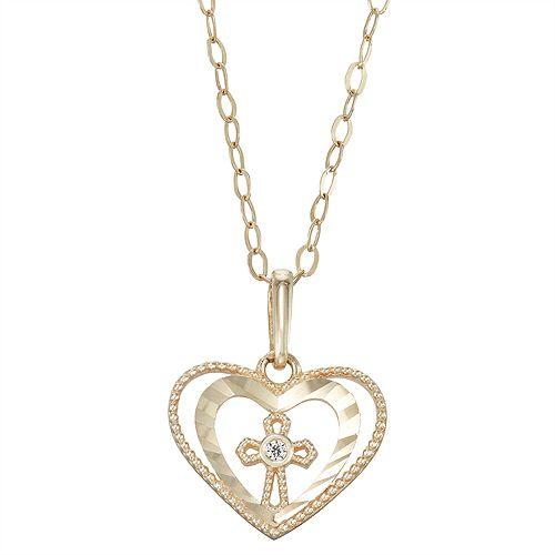 Charming Girl 14k Gold Heart & Cross Cubic Zirconia Pendant Necklace