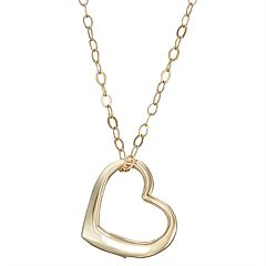 Charming Girl 14k Gold Heart Pendant Necklace