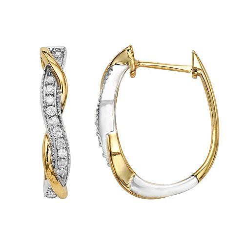 Two Tone Sterling Silver 1/4 Carat T.W. Diamond U-Hoop Earrings