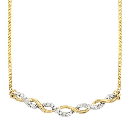 Two Tone Sterling Silver 1/8 Carat. T.W. Diamond Necklace