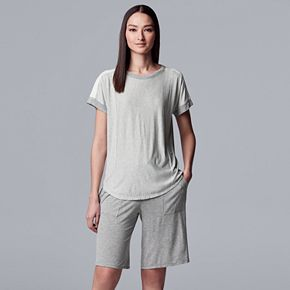 Women's Simply Vera Vera Wang Top & Bermuda Shorts Pajama Set