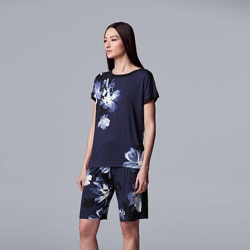 Women's Simply Vera Vera Wang Floral Top & Bermuda Shorts Pajama Set