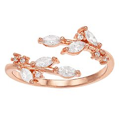 LC Lauren Conrad Rose Gold Tone Simulated Stone Leaf Motif Wrap Ring