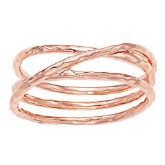 LC Lauren Conrad Rose Gold Tone Hammered Layered Ring