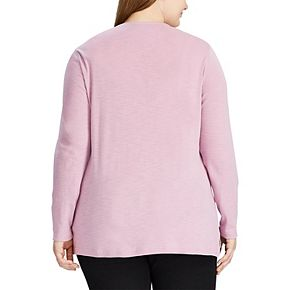 Plus Size Chaps Waffle-Knit Henley Top