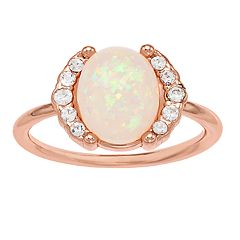 LC Lauren Conrad Rose Gold Tone Simulated Stone & Opal Ring