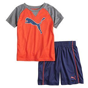 Boys 4-7 PUMA Raglan Tee & Shorts Set