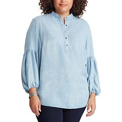 Plus Size Chaps Bishop-Sleeve Chambray Henley