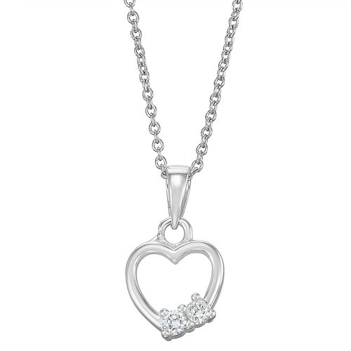 Charming Girl Crystal Heart Pendant Necklace