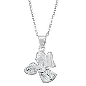 Charming Girl Sterling Silver Crystal Angel Pendant Necklace