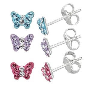Charming Girl Crystal Butterfly Earring Set