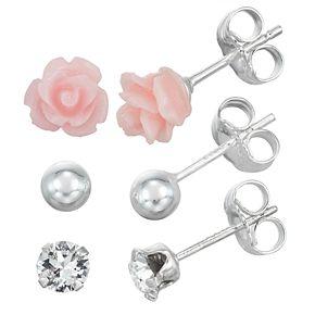 Charming Girl Sterling Silver Flower & Crystal Earring Set