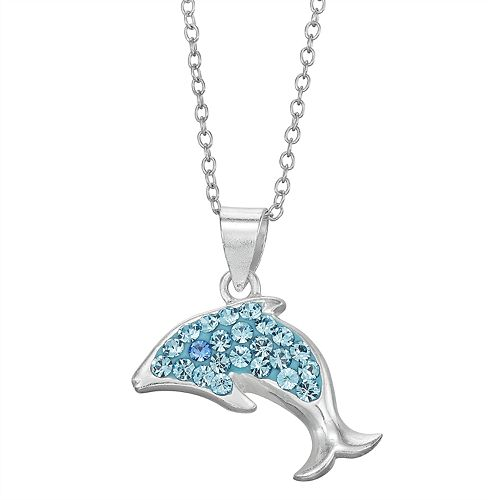 Charming Girl Sterling Silver Crystal Dolphin Pendant Necklace