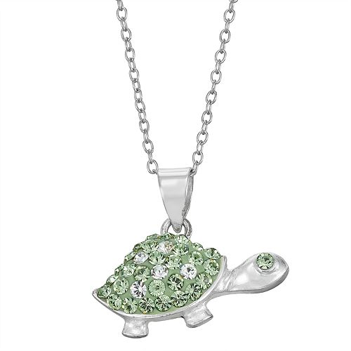 Charming Girl Sterling Silver Crystal Turtle Pendant Necklace