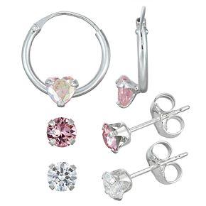 Charming Girl Sterling Silver Crystal Hoop & Studs Earring Set