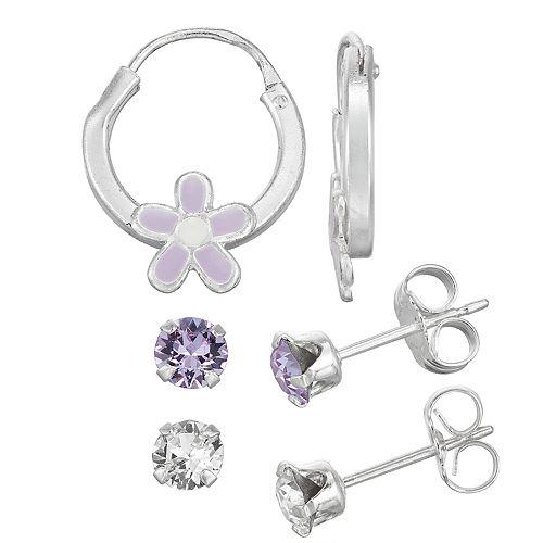 Charming Girl Sterling Silver Crystal Stud & Hoop Earring Set