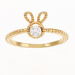 LC Lauren Conrad Gold Tone Simulated Stone Rabbit Motif Ring