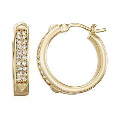Chrystina Fine Silver Plated Crystal Hoop Earrings