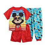 Disney's Mickey Mouse Toddler Boy Top, Shorts & Pants Pajama Set