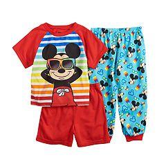 Disney's Mickey Mouse Toddler Boy Top, Shorts & Pants Pajama Set