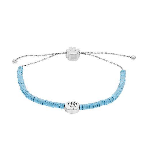 Bead Detail & Paw Print Charm Adjustable Bracelet