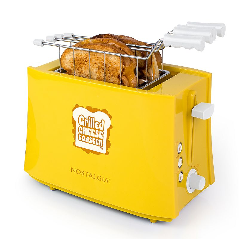 Nostalgia Electrics TCS2 Grilled Cheese Sandwich Toaster, Yellow Cheese lovers unite! This grilled cheese sandwich toaster by Nostalgia Electrics is a must-have for every family. 2 removable toasting baskets Adjustable toasting dial Cancel, preheat and defrost functions Cool touch housing and handles Drip tray removes for easy cleaning Cord wrap for tidy storage PRODUCT CARE Manufacturer's 1-year limited warranty For warranty information please click here 8.75 H x 6 W x 10.75 D 600 watts Model no. TCS2 This product may contain a chemical known to the state of California to cause cancer, birth defects or other reproductive harm. For more information go to www.P65Warnings.ca.gov. Size: One Size. Color: Yellow. Gender: unisex. Age Group: adult.