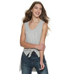 Juniors' Love, Fire High-Low Tie Front Tank Top