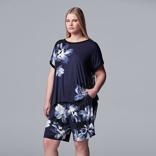 Plus Size Simply Vera Vera Wang Sleep Tee & Bermuda Pajama Shorts Set