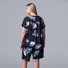 Plus Size Simply Vera Vera Wang Sleep Tee & Bermuda Pajama Shorts Set