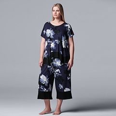 Plus Size Simply Vera Vera Wang Sleep Top & Culotte Pajama Set