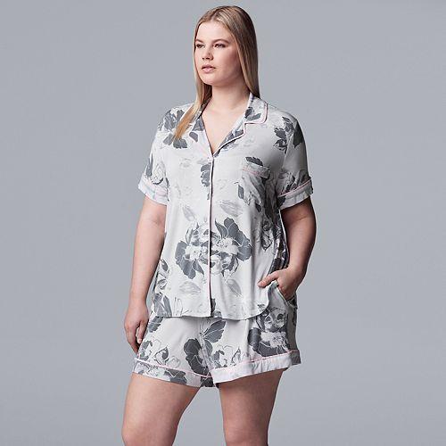 Plus Size Simply Vera Vera Wang Notch Collar Sleep Shirt & Pajama Boxer Shorts Set