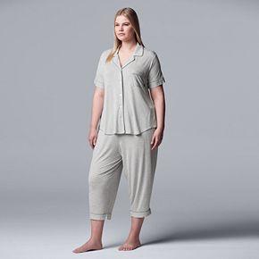Plus Size Simply Vera Vera Wang Notch Collar Sleep Shirt & Capri Pajama Set