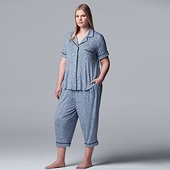 Plus Size Simply Vera Vera Wang Notch Collar Sleep Shirt & Capri Pajama Set