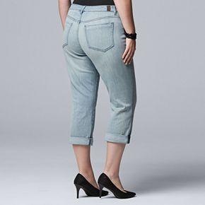 Plus Size Simply Vera Vera Wang Roll Cuff Capri