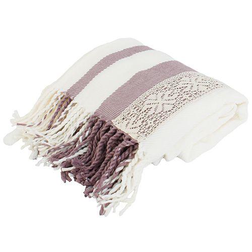 Tati Lace Applique Knit Decorative Throw