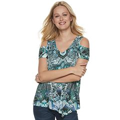 Women's World Unity Cold-Shoulder Asymmetrical Hem Top