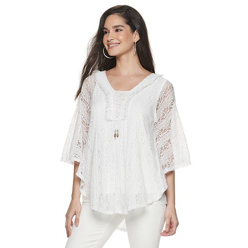 Women's World Unity Lace Overlay Cape Top