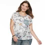 Juniors' Plus Size WallFlower Printed Scoop Neck Favorite Tee
