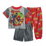 Toddler Boy Marvel The Avengers Top, Shorts & Pants Pajama Set