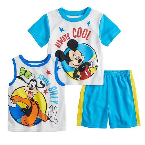 Disney's Mickey Mouse & Goofy Tops & Shorts Pajama Set
