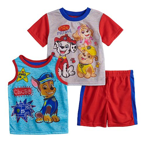 Toddler Boy Paw Patrol Marshall, Rubble, Chase & Skye Tops & Shorts Pajama Set