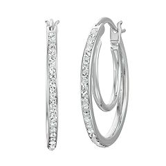 Chrystina Fine Silver Plated Crystal Double Hoop Earrings